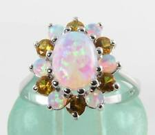 LARGE 9CT 9K WHITE GOLD AUS OPAL & CITRINE CLUSTER ART DECO INS RING FREE RESIZE