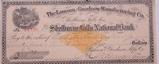 1900 Lamson Goodnow Check Shelburne Falls Bank Worcester Screw Ephemera C28-105