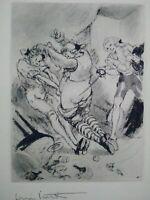 Rare Louis Icart gravure signée scène de duel curiosa scène galante parfait état