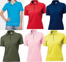 Kurzarm taillenlange Damenblusen, - Poloshirts ohne Muster