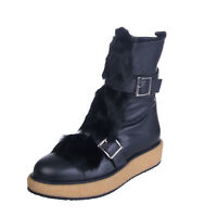 PALOMA BARCELO Leather Ankle Boots Size 38 UK 5 Grainy Fur Trim Buckle RRP €385