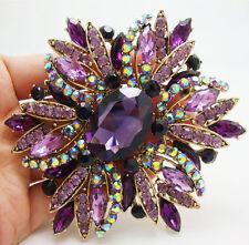 New Vintage Style Gorgeous Purple Flower Gold-tone Brooch Pin Rhinestone Crystal