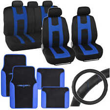 Blue Rome Sport Car Seat Cover, 2 Tone Car Floor Mat & Ergo Steering Wheel Cover