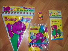 Barney Party Supplies 4pc Lot 1992 Unique Dinosaur Birthday Multi-color  NOS