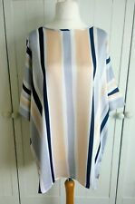 M&S Curve Luxe Pink Mix Striped Kimono Sleeve Blouse Top Shirt Size 18