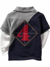 NEW GAP Baby Boy Long Sleeve Grey Navy Blue Polo Top Tee Shirt, Size 12-18m