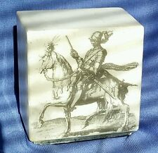 Alabaster Marble Paperweight Book End Knight Gothic Warrior Horse Cube Heavy
