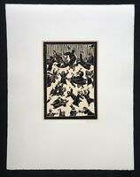 Blalla W. Hallmann, Protestanten erstürmen, Linolschnitt, 1986, handsigniert