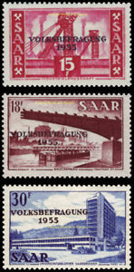 EBS Germany 1955 Saar Saarland Plebiscite Volksbefragung Michel 362-364 MNH**