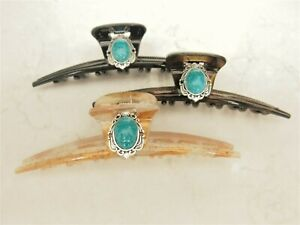 Turquoise blue stone and silver hair claw clip for fine thin hair