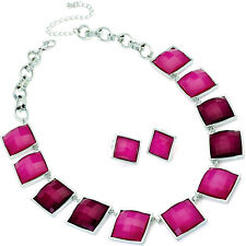 Two tone fuchsia pink stone silver plated necklace earring costume jewellery set