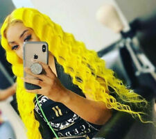 Women Lace Front Wig Long Wave Yellow Synthetic Wig Party Synthethic Cosplay Wig