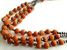 VINTAGE NECKLACE AMBER COLOURED HAND CARVED STONE BEADS TRIBAL ETHNIC J129