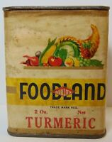 Rare Old Vintage 1930s FOODLAND FRUIT VEGETABLE GRAPHIC SPICE TIN CLEVELAND OHIO