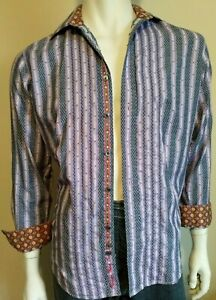 ROBERT GRAHAM mens size Small shirt purple striped embroidered 100% cotton