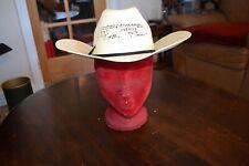 "Bangora Straw Western Cowboy size 57/ 7  1/8 with hatband & vents 4"" brim beige"
