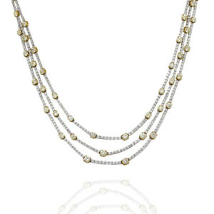 Gregg Ruth 7.76ctw Yellow/ 7.04ctw White Diamond Necklace in 18KYW Gold