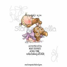 Stamping Bella LITTLE GIRL HUGS TEDDY BEAR Cling Mount Rubber Stamp MO156