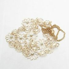 Design Pendant Women Accessory Jewelry Necklace Gold Hollow Flowers Multilayer