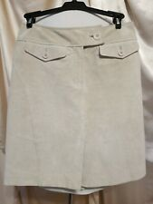 Ann Taylor 100% LEATHER beige Knee Length Womens Skirt Size 0