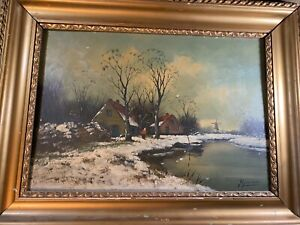 """Large  Antique """"Rural Landscape With Home Scene"""" Oil Painting -Signed And Framed"""