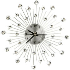 Handcrafted Diamante Jewelled Crystal Daisy Silver Wall Clock 33cm New