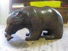 hand-carved hardwood (mahogany) -Grizzly Bear Catching Salmon -wood figurine art
