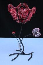 NEW HOME DECOR RED LEAF METAL FLOWER CANDLE HOLDER TEA LIGHT BIG BEADS STONES