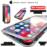 COVER per Iphone 6 7 8 /Plus Alluminio Glass MAGNETICA con RETRO VETRO TEMPERATO