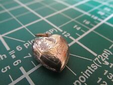 Vintage Silver Hollow Heart Charm / Pendant with Detailed Bird Etching