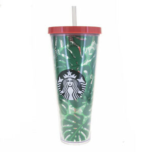 STARBUCKS Venti Green Tropical Leaves Lace Print Cold Cup Acrylic Tumbler 24Oz