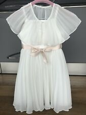 Monsoon Dress Ivory Pleated Flower Girl Party & Detachable Cape Size 4 years