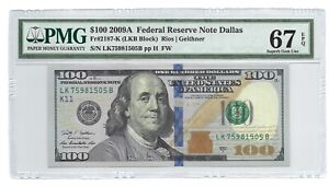 2009A $100 DALLAS FRN, PMG SUPERB GEM UNCIRCULATED 67 EPQ BANKNOTE