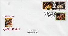 Isole Cook 2013 FDC Natale dipinti 3V Set Copertura REMBRANDT MICHELANGELO