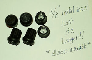 """(6) 5/8"""" HEAVY RUBBER CANE TIPS, CRUTCHES, WALKERS / METAL INSERT LAST 5X LONGER"""