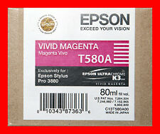 06-2014 Genuine Epson Pro 3880 T580A  T580A00 vivid magenta printer ink New