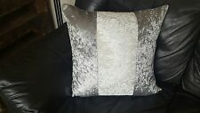 "4 22"" Trendy New Crushed Velvet 3 Panel cushion covers in Silver and cream."