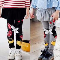 Baby Girls Kids Mickey Minnie Pants Culotte Leggings Slim Dress Skirt Pants 2-6Y