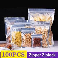 100Pcs Glossy Mylar Foil Clear Front Silver Rear Zip Lock Pouch Bag Food Grade