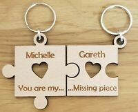 PERSONALISED VALENTINES GIFTS KEYRING PUZZLE HIS & HERS COUPLES ANNIVERSARY