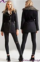 Womens LADIES PARKA JACKET Quilted Sleeves FUR COLLAR WINTER COAT Size 8-16 wool