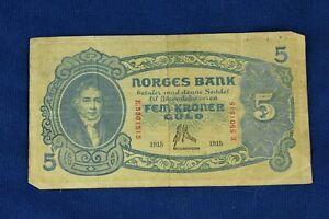 Norges Bank 5 Kroner Banknote (Series II) 1915