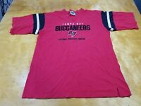 Tampa Bay Buccaneers NFL Lee Sports Mens Red Short Sleeve V Neck T Shirt L