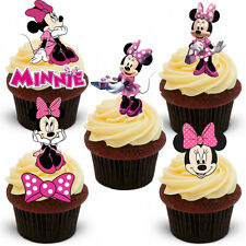 18 STAND UP Pink Minnie Mouse Edible Wafer Paper Cupcake Cake Toppers