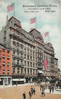 New York City New York c1910 Postcard Broadway Central Hotel