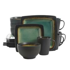 16-Piece Square Stoneware Dinnerware Set Turquoise Plates Bowls Mugs Dishes New