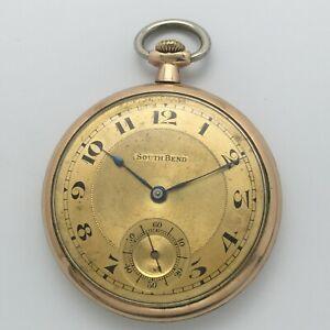 Vintage 1914 South Bend Grade 429 19J 12s Open Face Pocket Watch Triple Signed