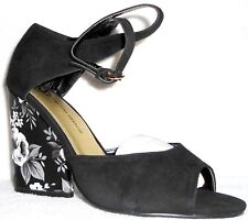 "New June Ambrose Black Floral 4"" Heel suede open toe Ankle Strap Pumps 7 M"