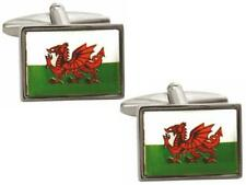 New Welsh Flag Dragon Rectangular Cufflinks With Gift Box & 2 Year Guarantee