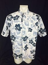 Hawaiin Aloha Shirt. Blue And White Floral. Men's. Large. Excellent.